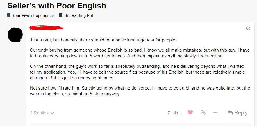 Poor English